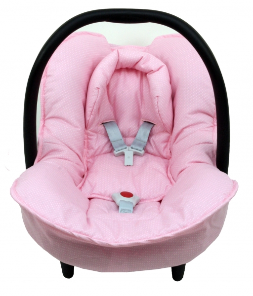 Maxi Cosi Citi cover in pink with little dots - makes even a used Maxi Cosi Citi car seat look new and hygienic again