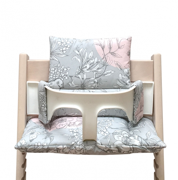 beschichtet sitzkissen set polster f r stokke tripp trapp hochstuhl blossom grau rosa vogel. Black Bedroom Furniture Sets. Home Design Ideas