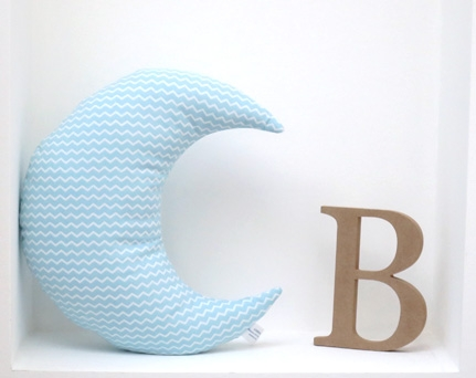 Moon shaped pillow soft and cozy - Chevron turquoise