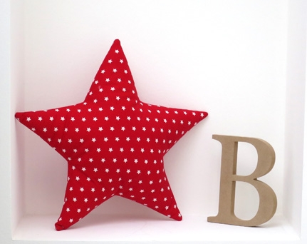 Star shaped pillow soft and cozy - red with stars