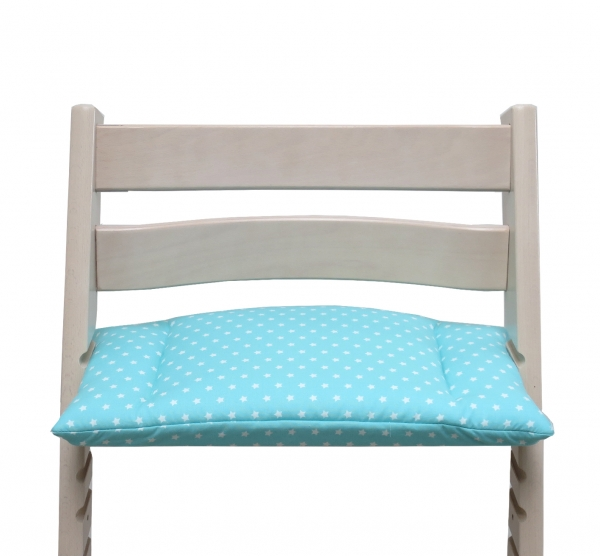 Fits perfectly on the Stokke Tripp Trapp high chair - the cushion turquoise star