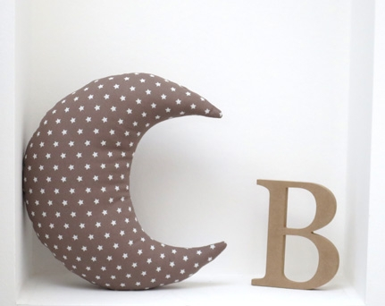 Moon shaped pillow soft and cozy - taupe with stars