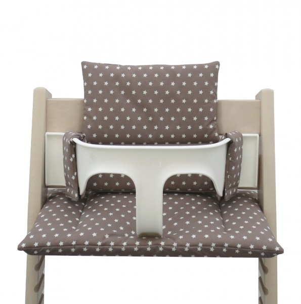Coated: Tripp Trapp high chair cushion in taupe with star