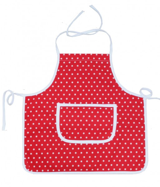 Kiddie Apron - coated - in red with Stars