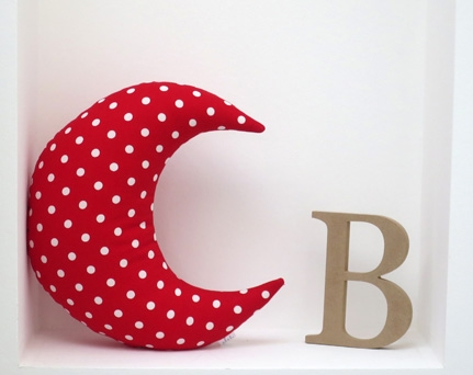 Moon shaped pillow soft and cozy - red with dots