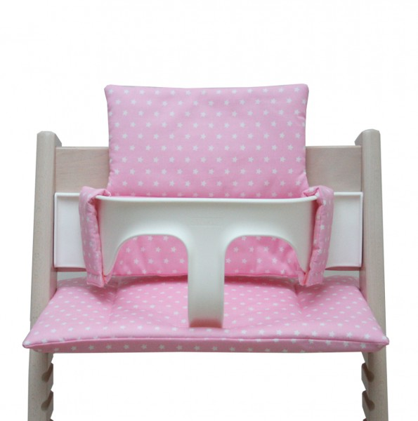 Tripp Trapp high chair cushion in pink with stars