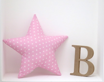Star shaped pillow soft and cozy - pink with stars