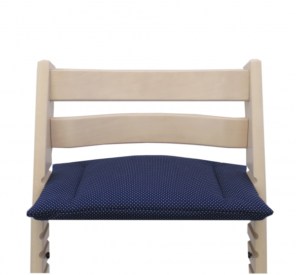 Fits perfectly on the Stokke Tripp Trapp high chair - the cushion blue with litte dots