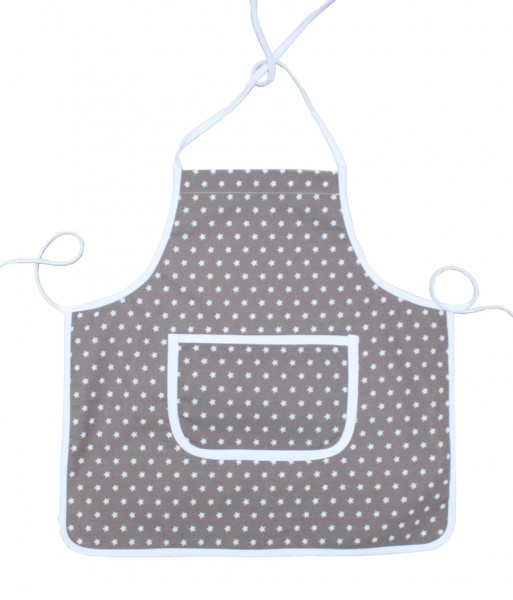 Kiddie Apron - coated - in taupe with Stars